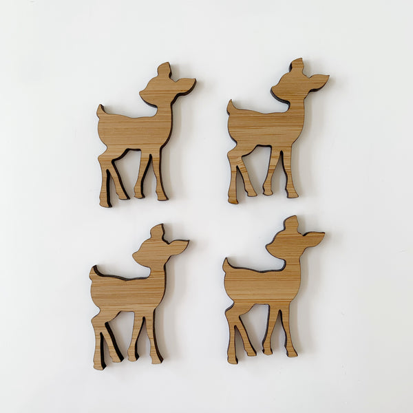 Deer-shaped bamboo pieces, set of 4