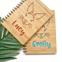 Bunny bamboo cover notebook