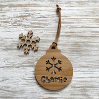 Personalised snowflake Christmas bauble ornament