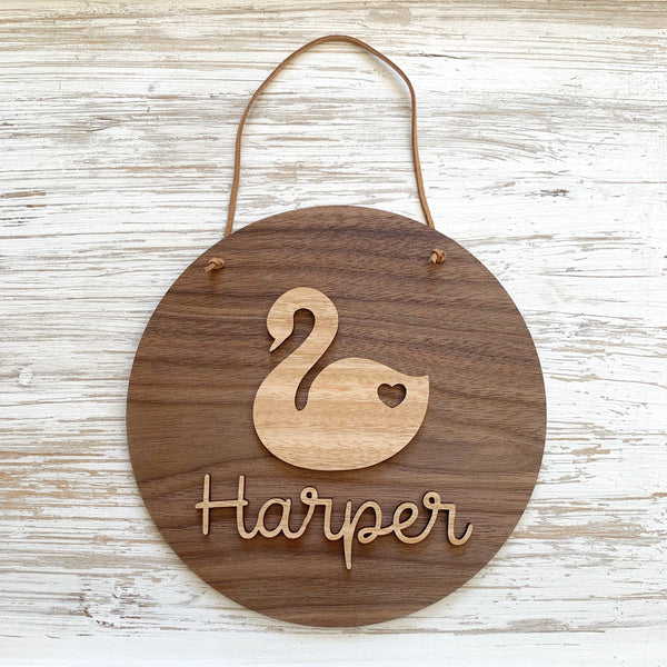 Personalised 3D swan plaque