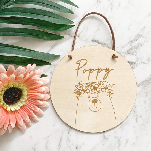 Timber name plaque - Bear with flower crown