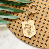 First Father's Day Wooden Keychain / Keyring