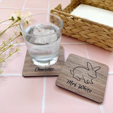 Personalised wooden bunny coasters