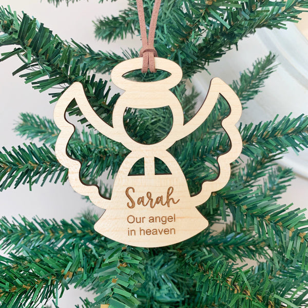 Personalised angel wooden ornament