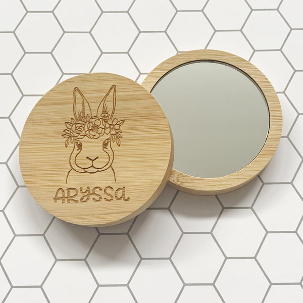 Personalised bunny pocket mirror