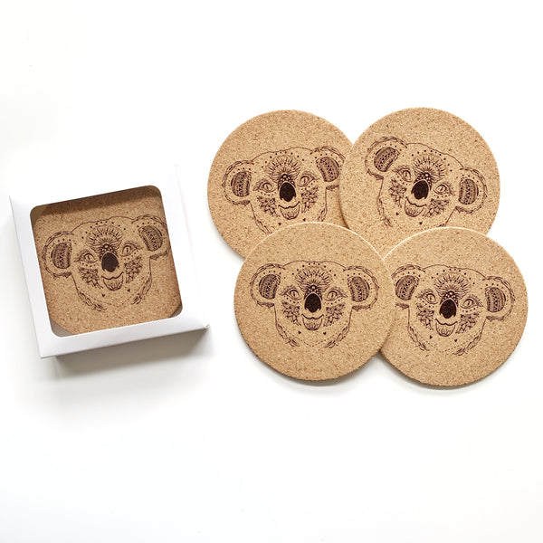 Koala coaster set - tribal koala design