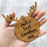 Personalised first Christmas reindeer ornament