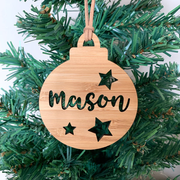 Personalised Christmas bauble ornament with stars design