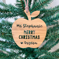 Personalised Christmas ornament for teachers - apple shaped