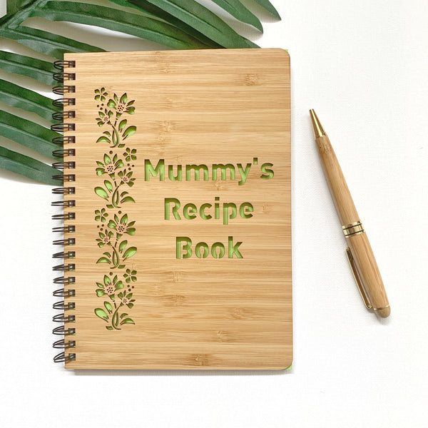 Recipe bamboo cover notebook