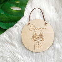 Timber name plaque - Llama with flower crown