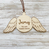 Personalised angel wing ornament
