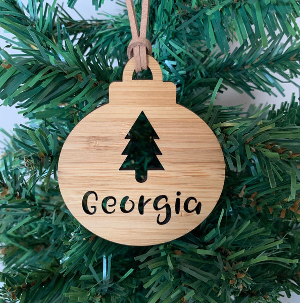 Personalised Christmas tree bauble ornament