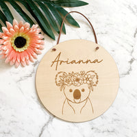 Timber name plaque - Koala with flower crown