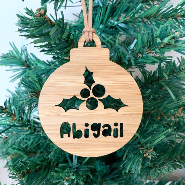 Personalised Christmas mistletoe bauble ornament