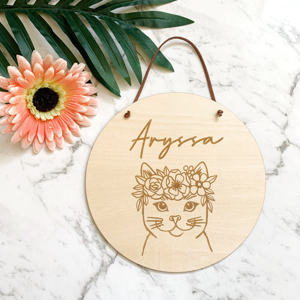 Timber name plaque - Kitty cat with floral wreath