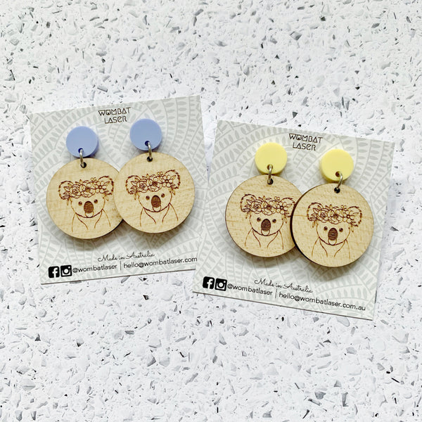 Koala with flower crown dangle earrings / drop earrings