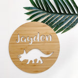 Dinosaur - triceratops name plaque/wall hanging - 19cm or 29cm