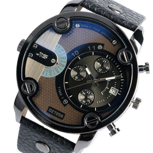 Luxury Men's Multi-Function Quarts Wrist watch with leather strap