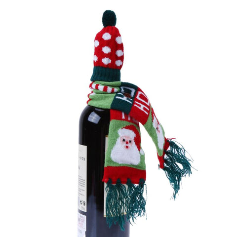 Christmas-Wine-bottle-Scarf,Table-Decoration,Christmas Bottle Gift-wrap, Christmas Gift,