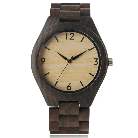 Full Natural Wood Male Watch, Handmade Bamboo, Novelty Fashion, Men Quarts Wrist Watch, Reloj-de-madera