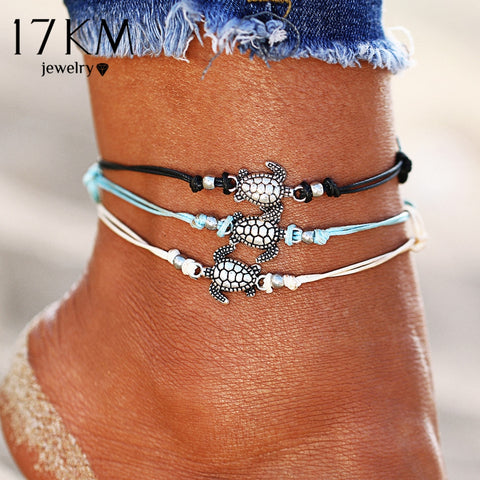 Vintage Multiple Layers Turtle Anklets, Bohemian, Retro Turtle Rope Anklet, Ankle Bracelet Chain, Foot Jewelry
