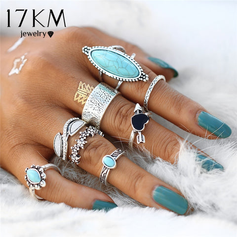 Vintage Bohemian Antique Silver Coloured Heart Flower Knuckle Rings, 2019 New Punk