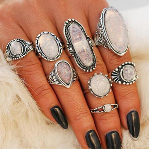 Bohemian Big Opal Stone Midi Ring Set For Women, New Design, Retro Silver Colour, Vintage Finger Knuckle Ring Jewellery Set