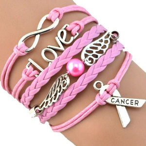 Stand Up to Cancer Bracelet, Pink Angel Cancer Awareness Bracelet with Ribbon