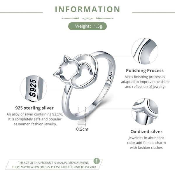 100% 925 Sterling Silver Naughty Little Cat & Heart Finger Ring for Women Sterling Silver Jewellery