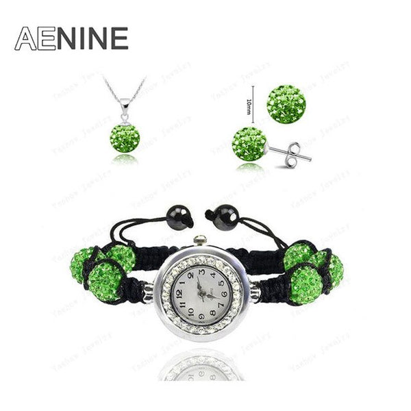 AENINE Watch Sets Necklace+Bracelet+Earrings Crystal Jewelry Watch Sets 10mm Micro Pave Disco Beads Crystal Jewelry Sets SHSE11