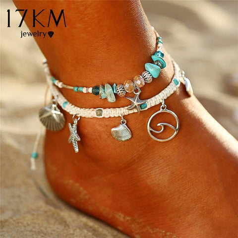 17KM 2PCS Bohemian Starfish Stone Anklets Set For Women Vintage Handmade Wave Anklet Bracelet on Leg Beach Ocean Jewelry 2018
