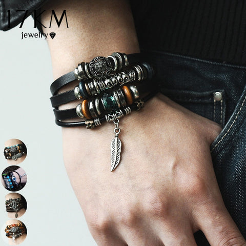 Multiple Layer Charms Bracelet For Men Women, Fashion Leather Bracelets Wristband Braid Bangles