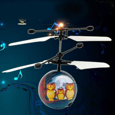 Christmas Toy FlyBall, Festive Owl Pattern, Illuminated Children's Electric Toy With Festive Music