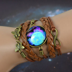 Vintage Bohemian Starry Moon Bracelet, Steampunk style Bangle with Infinity Stone
