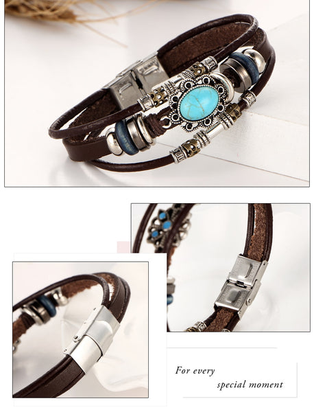 Vintage Flower Bracelets & Bangle, Bohemian Multiple Layers Leather Bracelet, Handmade, Female Punk Jewellery for Women