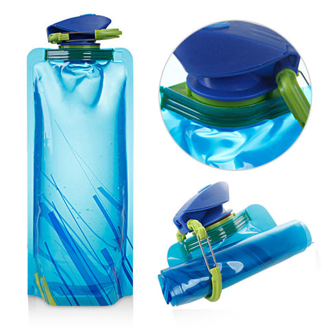 Foldable Blue Sports Bottles, 500ml-1000ml P.E. Outdoor PE, Hiking, Camping, Water Bottles