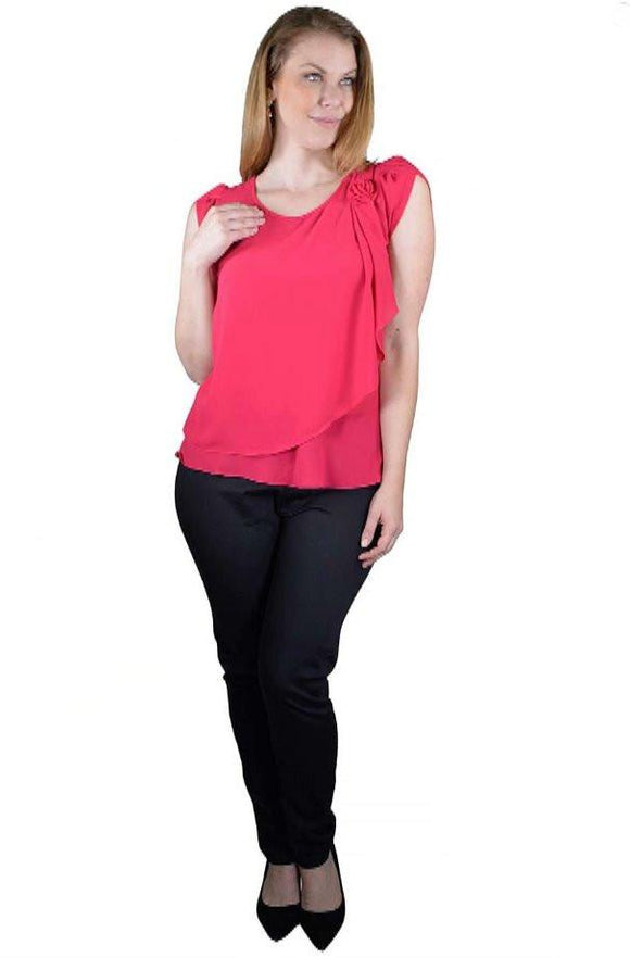 a8c77ba15f7159 Sleeveless Tops - Plus Size Short Sleeves Rosette Detailing Layered Top -9F33126c