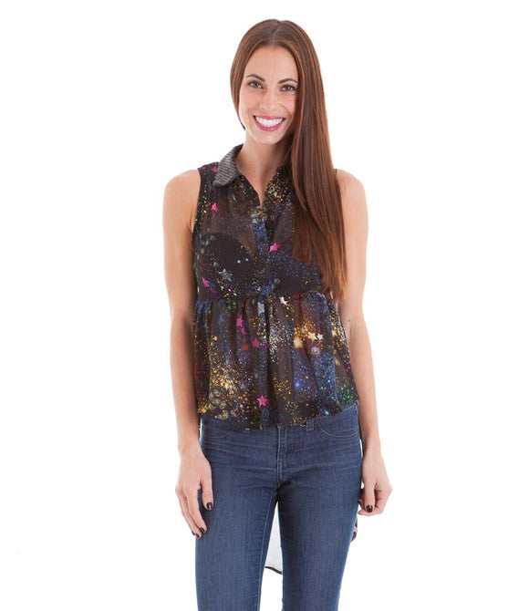 08a116e2901 Black Galaxy Print Square Cut Out Back High Low Hem Top - Sweet Cajun Soul  Warehouse