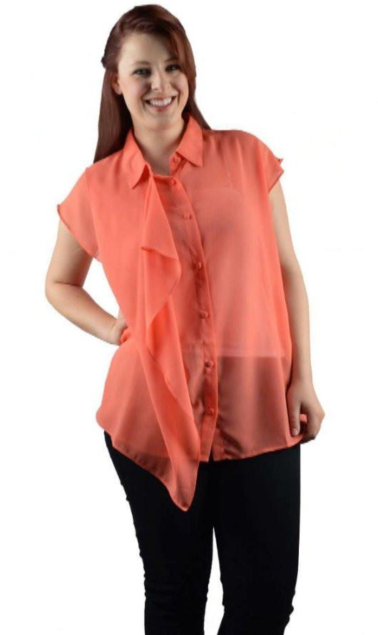 1a64dad401c Plus Size Sheer Button Up Blouse-9F28154a – Sweet Cajun Soul Warehouse