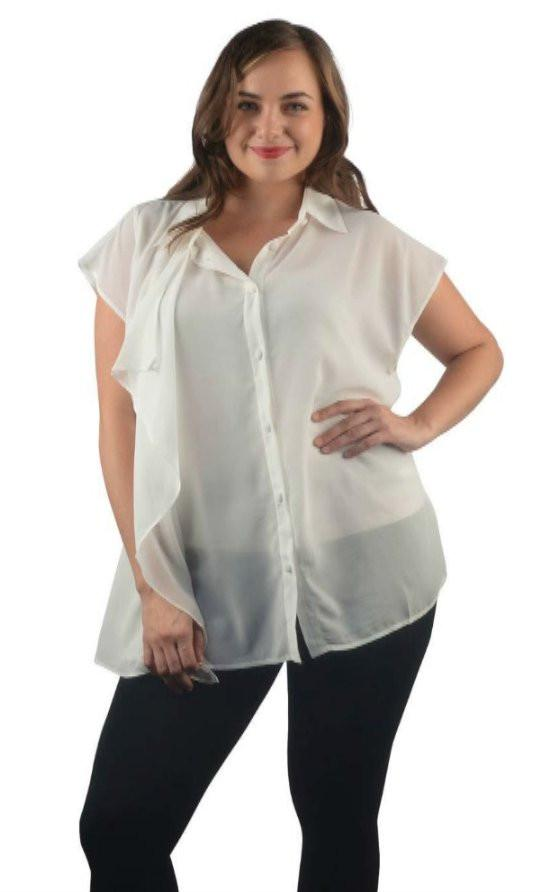 a1cad3f69 Plus Size Sheer Button Up Blouse-9F28154a – Sweet Cajun Soul Warehouse