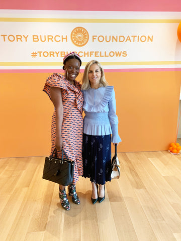 Fashion designers Tory Burch and Autumn Adeigbo meet at Tory Burch fellowship workshop 2019.
