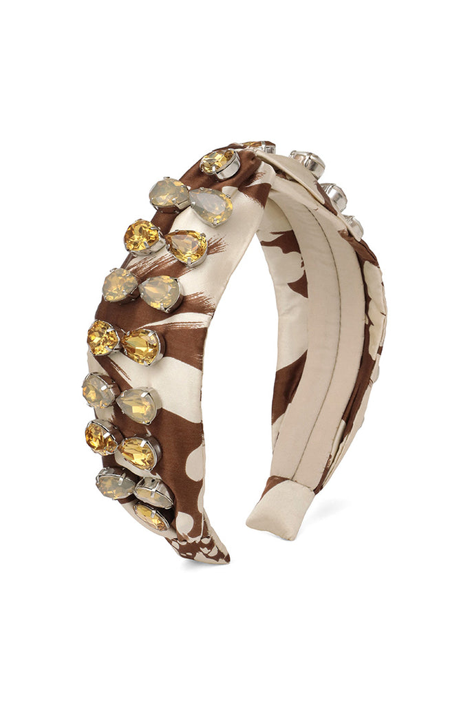 Brown & Cream Beaded Headband <br> As seen in goop gift guide