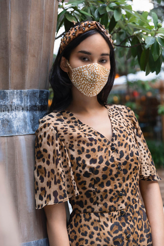 Leopard & Tan Stucco Face Masks