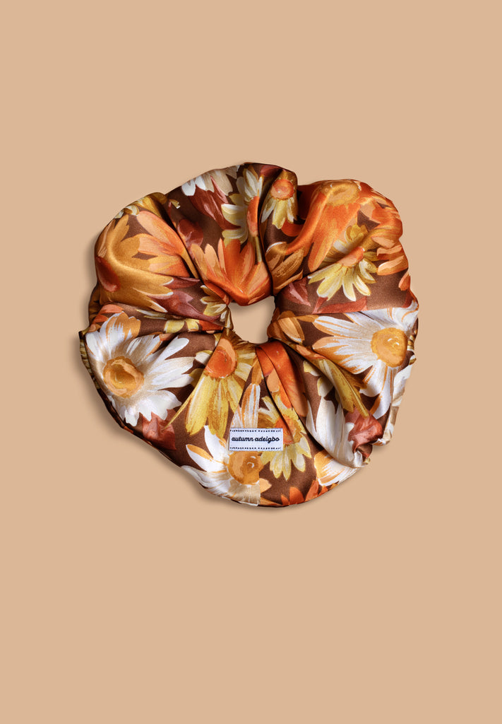 Orange Sunflower Scrunchie