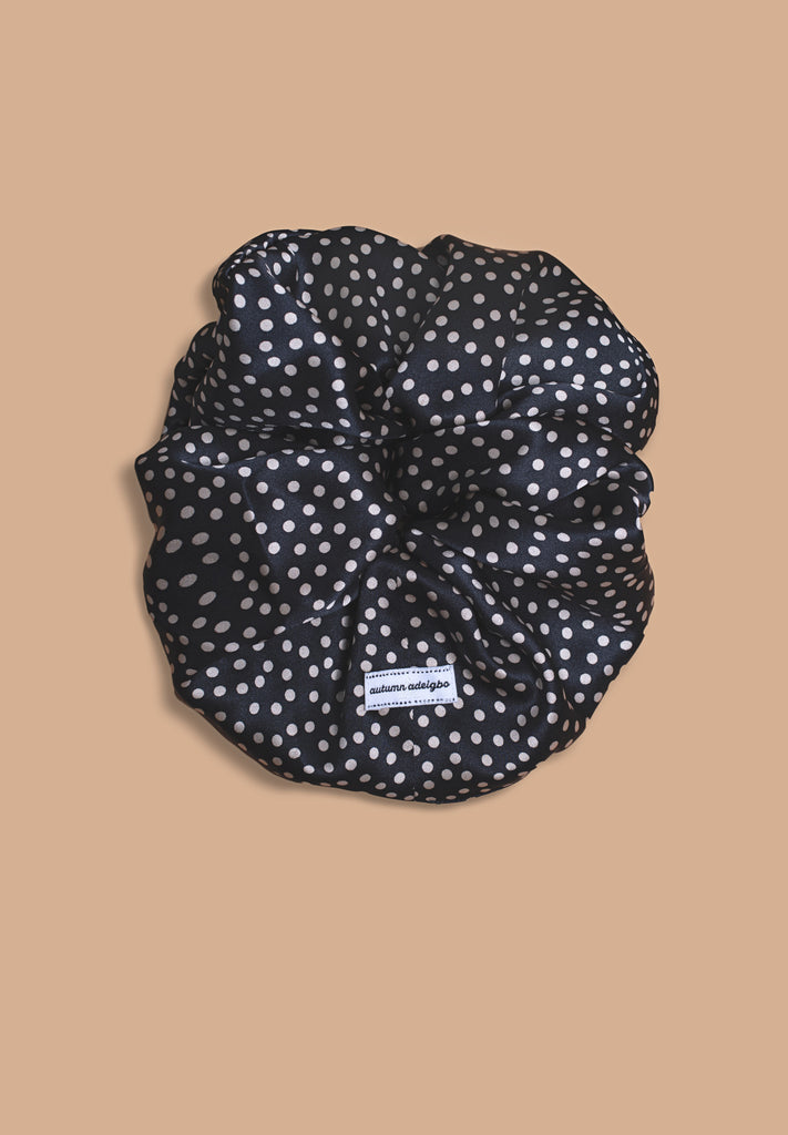 Smoke Mini Polka Dot Scrunchie