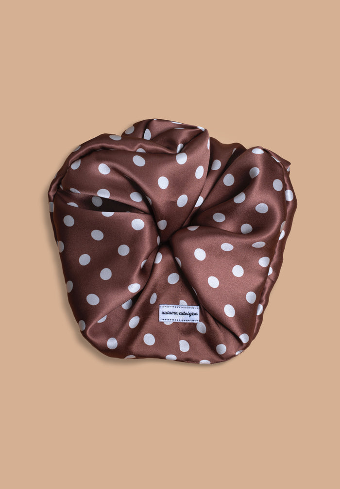 Chocolate Polka Dot Scrunchie