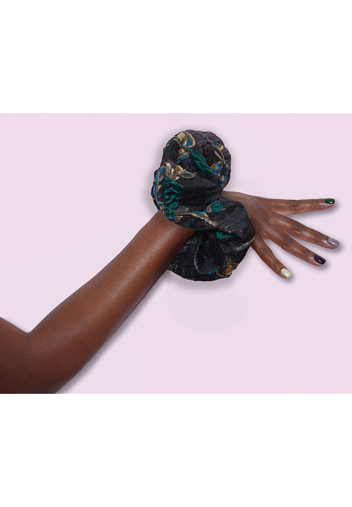 Blue Brocade Scrunchie