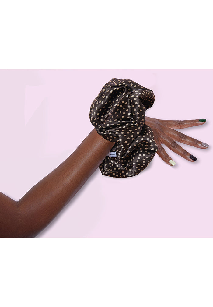 Chocolate Mini Dot Scrunchie