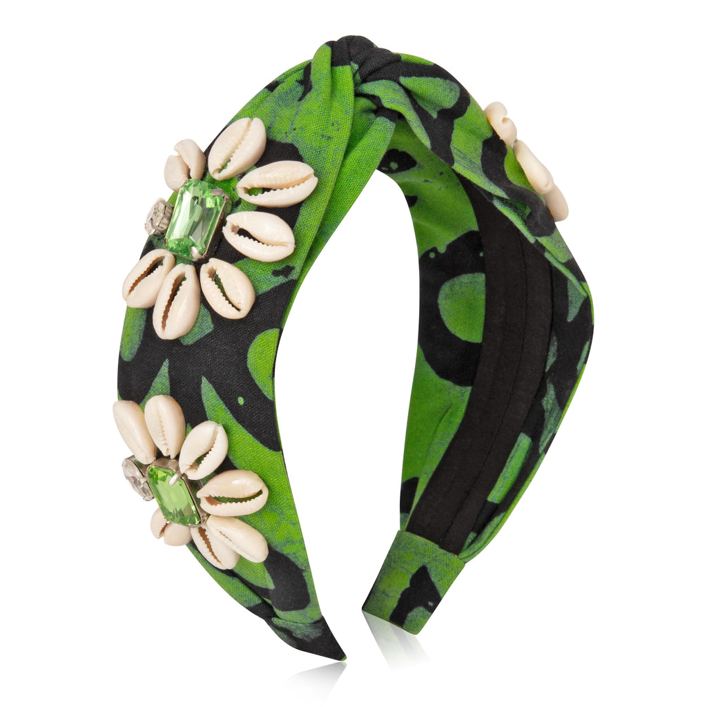 Green Cowrie Shells Headband